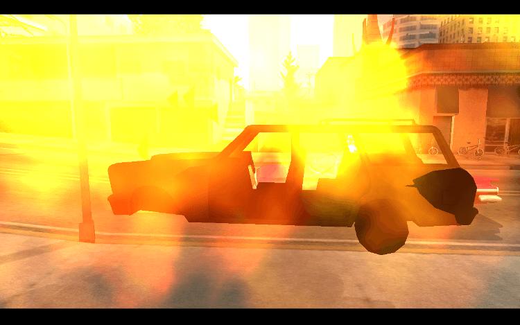 Grand Theft Auto 炎上する自動車