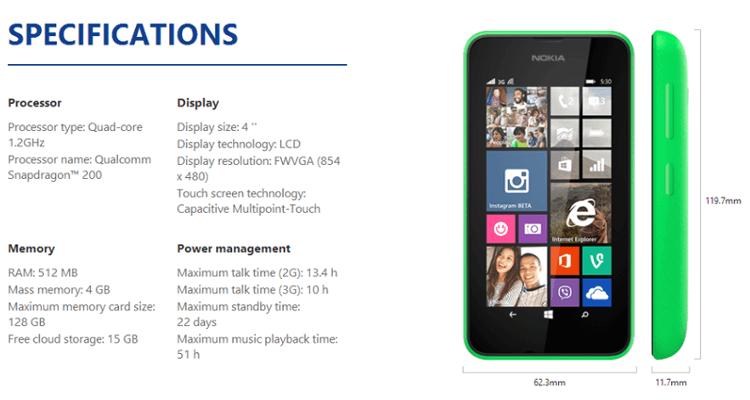 Nokia Lumia 530 スペック表