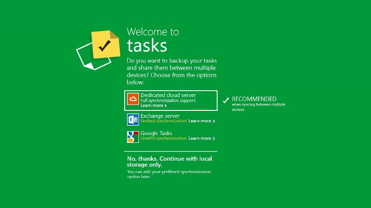 Tasks by Telerik 同期設定