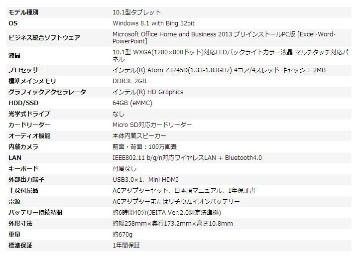 Iiyama 10P1100T AT FEM スペック表