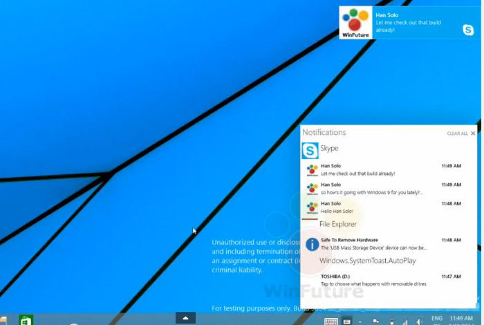 Windows9 プレビュー版 通知センター