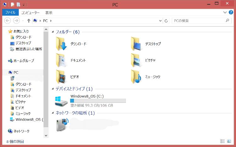 ThinkPad8 初期のストレージ容量
