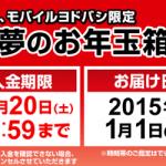 セール情報 - ヨドバシ夢のお年玉箱が12月18日9:00AM予約開始!完売必至!タブレットもあるよ
