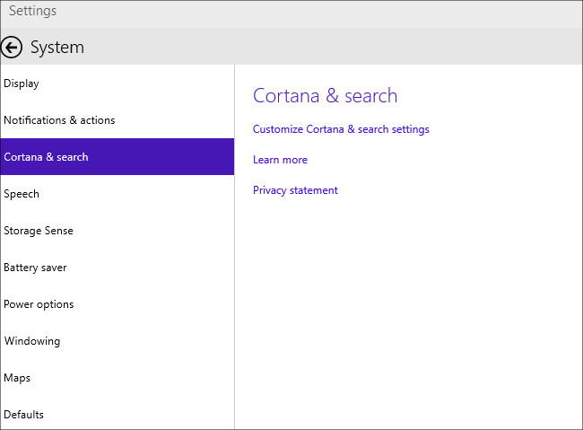Windows 10 英語での設定画面