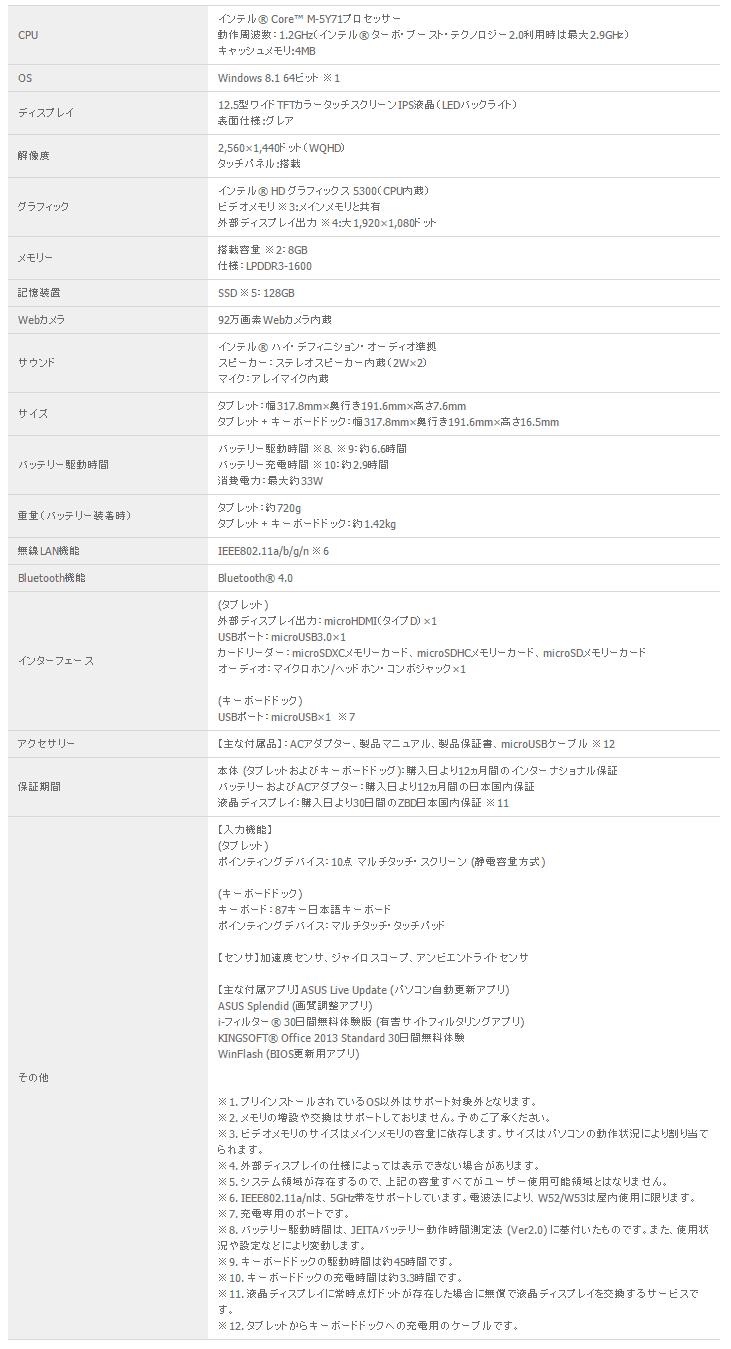 ASUS TransBook T300 Chi スペック表