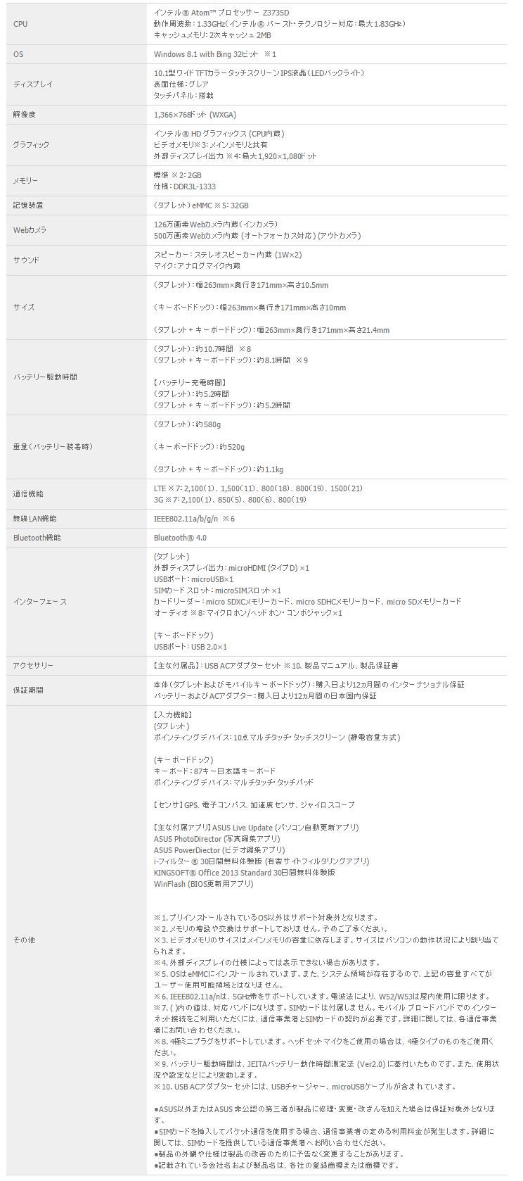 ASUS TransBook T100TAL スペック表
