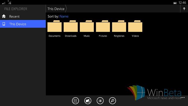 Windows 10 for small tablets ファイルエクスプローラー