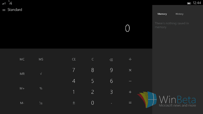 Windows 10 for small tablets 電卓