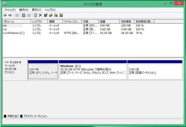 Diginnos DG-D08IWB 32GB ディスク領域