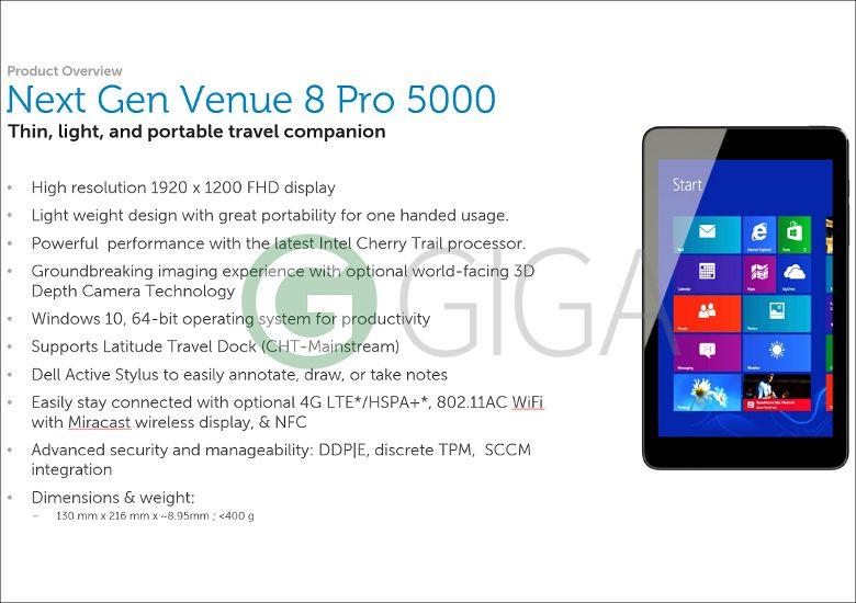新型Venue 8 Pro 5000の概要