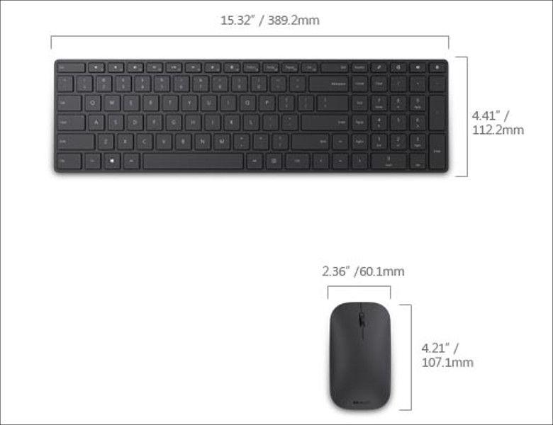 Microsoft Designer Bluetooth Desktop サイズ感