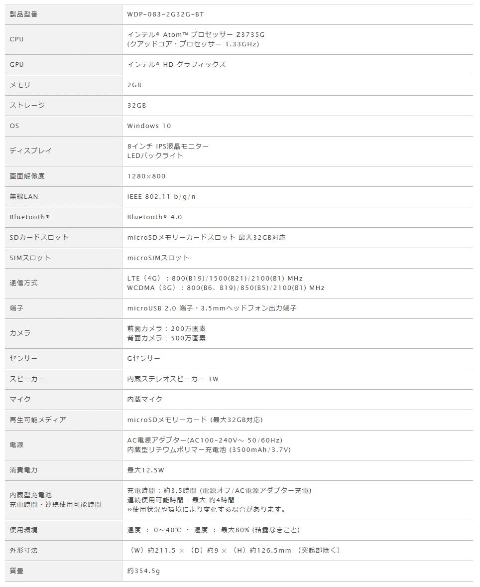 geanee WDP-083-2G32G-BT スペック表