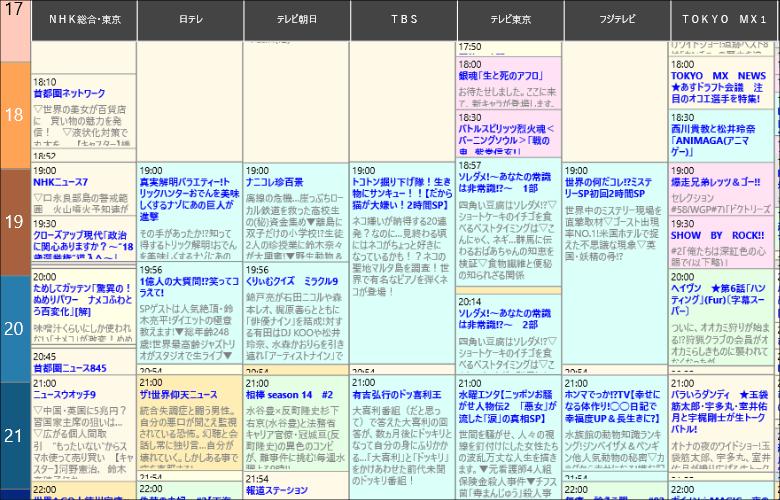 Epg-Navi 番組表拡大図