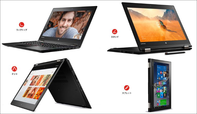 Lenovo ThinkPad Yoga 260 4つのスタイル