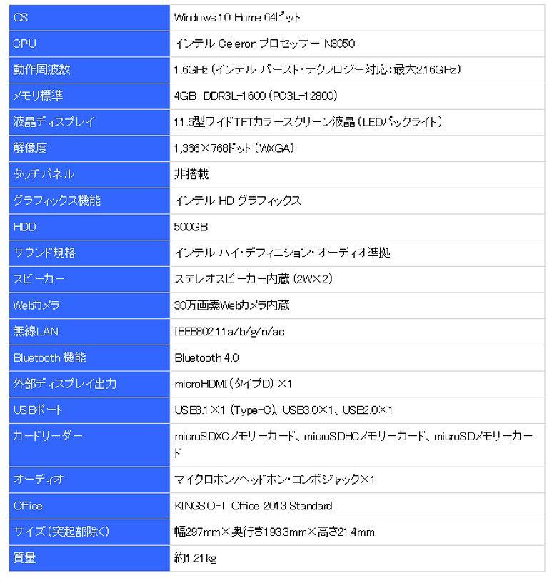 ASUS EeeBook E202SA スペック表