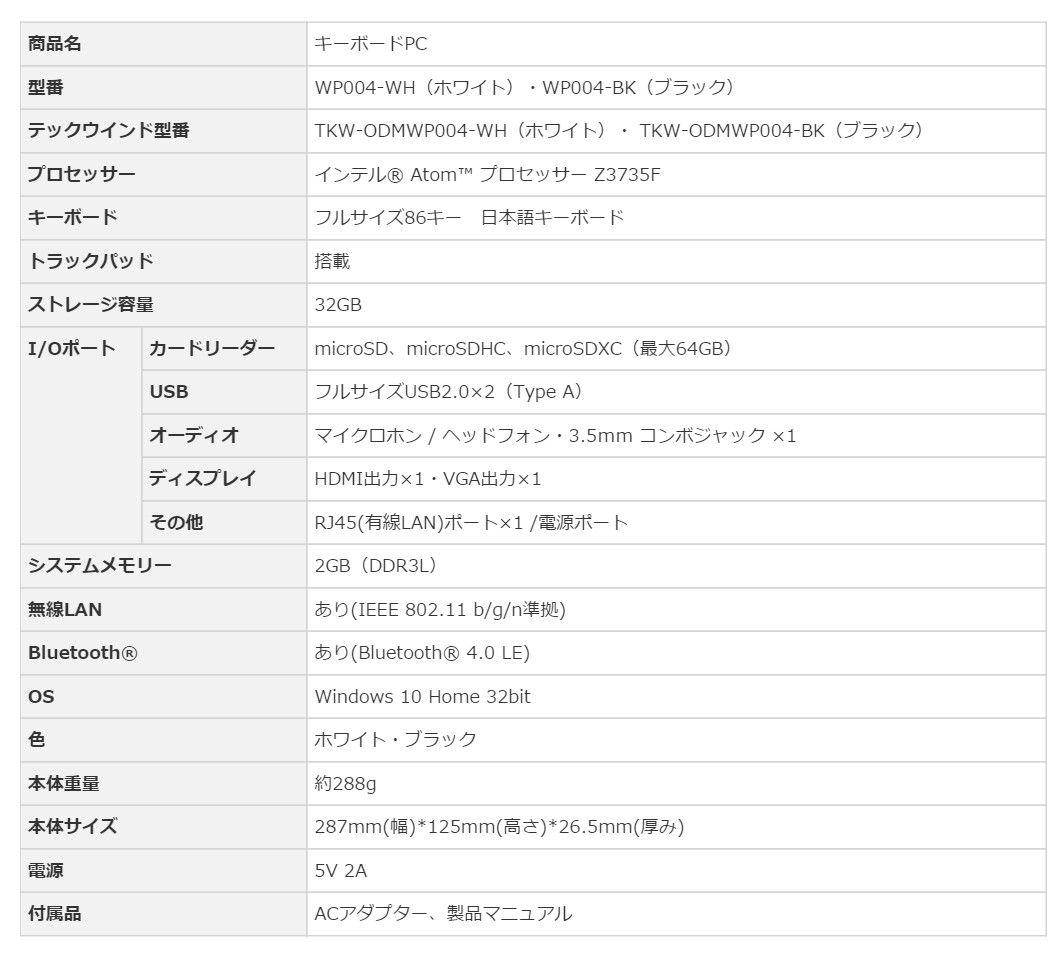 テックウインド WP004 スペック表