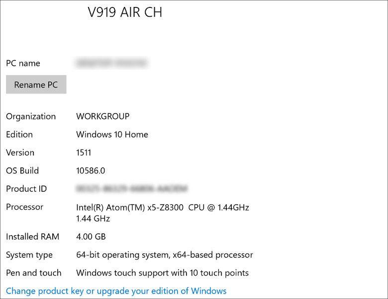 ONDA V919 Air CH システム情報