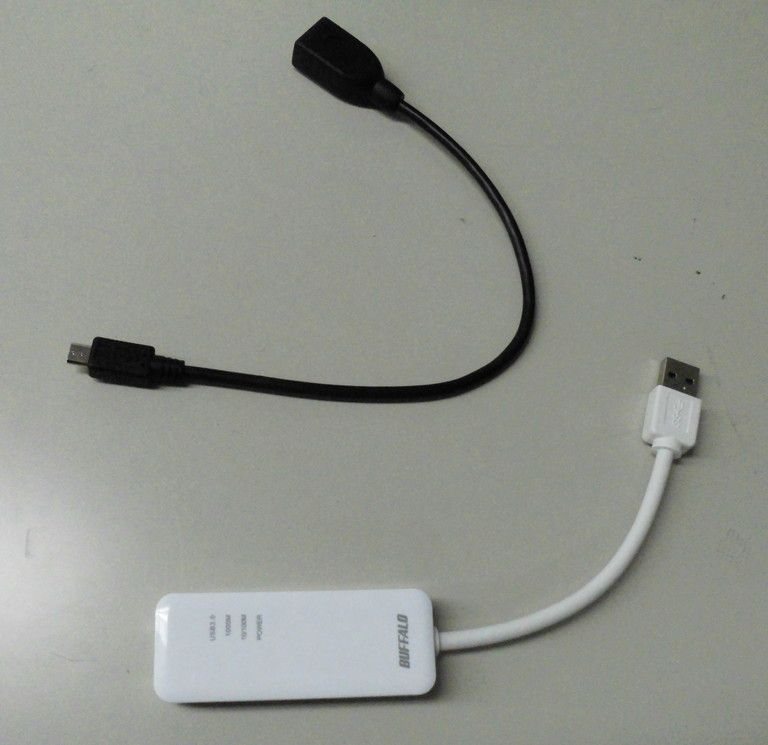 OTGケーブルと有線LANアダプター