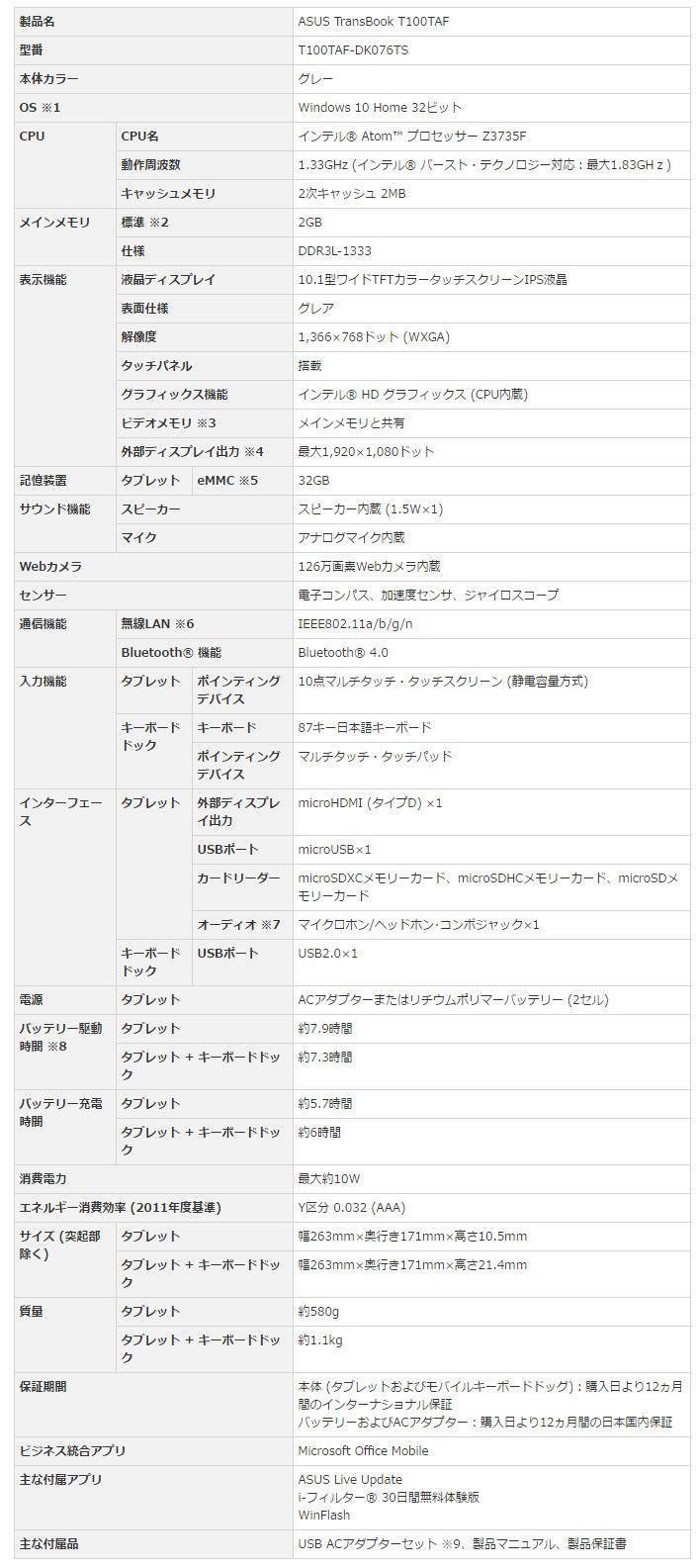 ASUS TransBook T100TAF スペック表