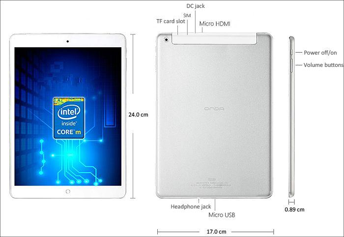 ONDA V919 3G Core M 各部名称