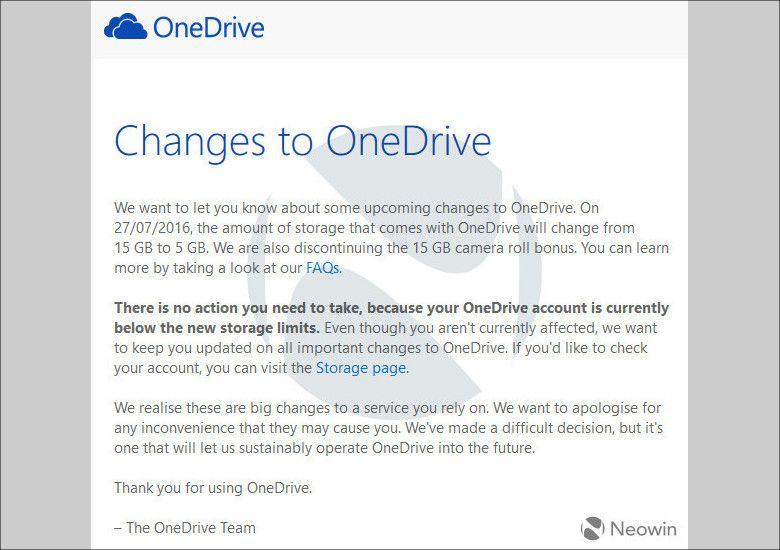 OneDrive容量縮小のメール