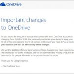OneDriveの容量縮小に関して、Microsoftからメールが来ました