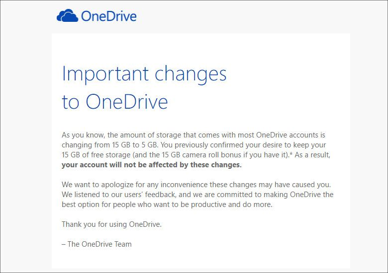 OneDriveチームからのメール