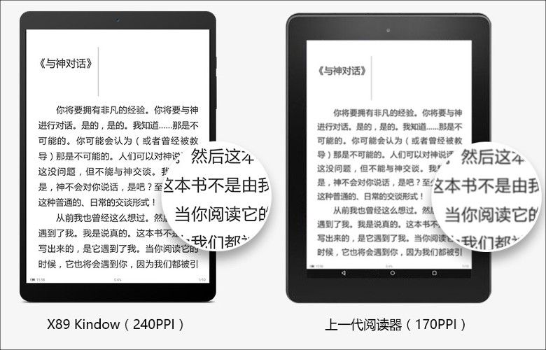 Teclast X89 Kindow Kindle Fireと比較