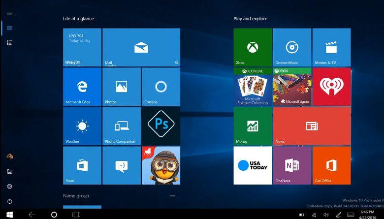 Windows 10 ビルド14328 タブレットモード