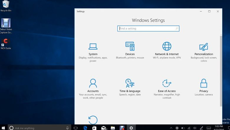Windows 10 ビルド14328 設定アプリ