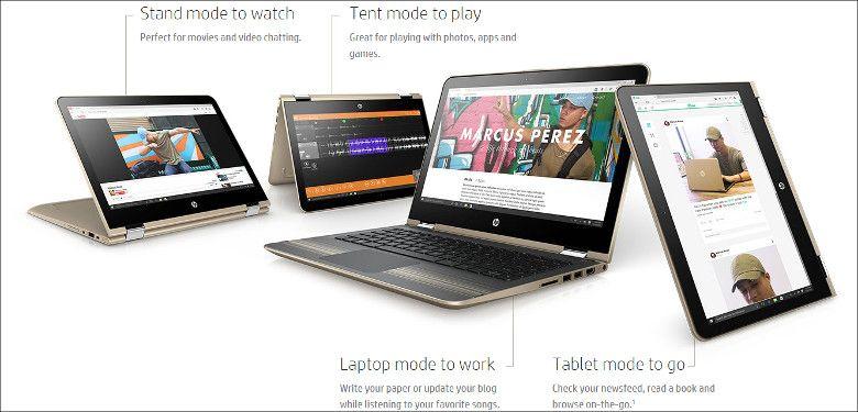 HP Pavilion X360 4つのスタイル
