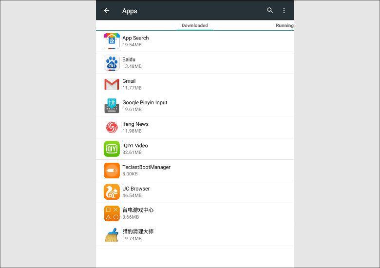 Teclast X10 3G プリインストールアプリ