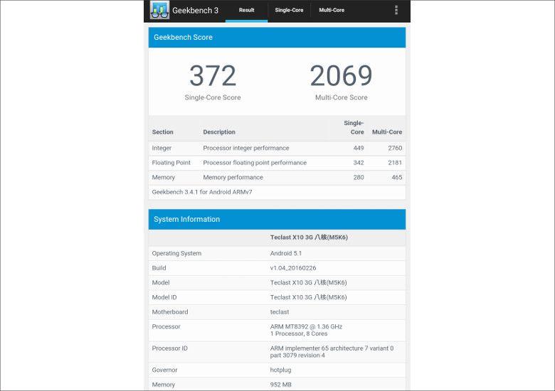 Teclast X10 3G GeekBench