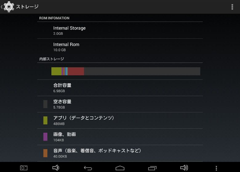 Teclast X89 Kindow Android側ストレージ