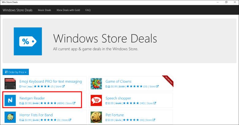 Win Store Deals ホーム画面
