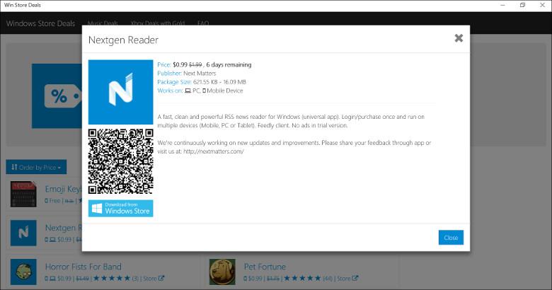 Win Store DealsでNextgen Readerを表示