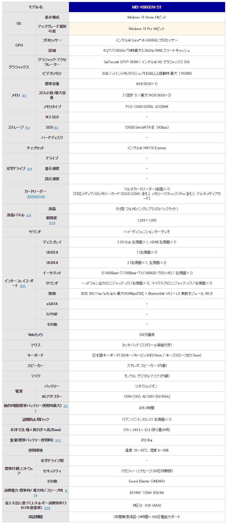 m-Book K シリーズ スペック表