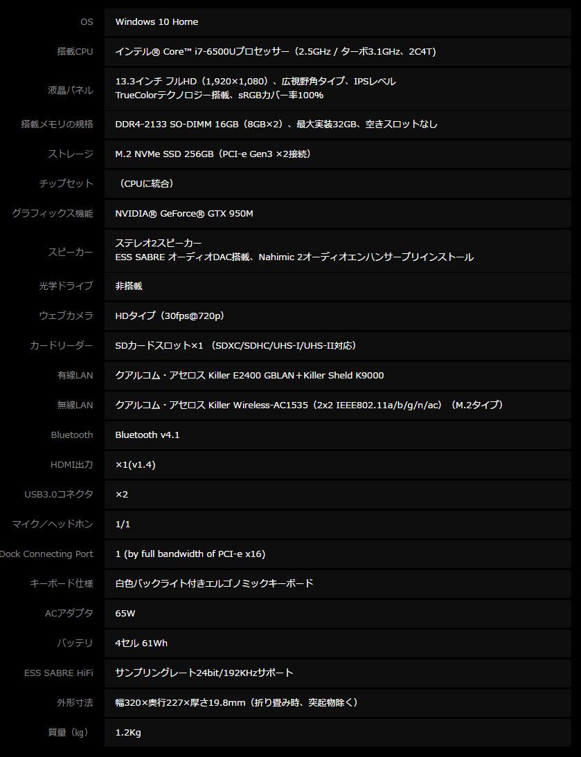 MSI GS32 6QE SHADOW スペック表