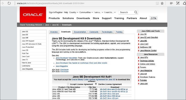 OracleのJDKダウンロードサイト