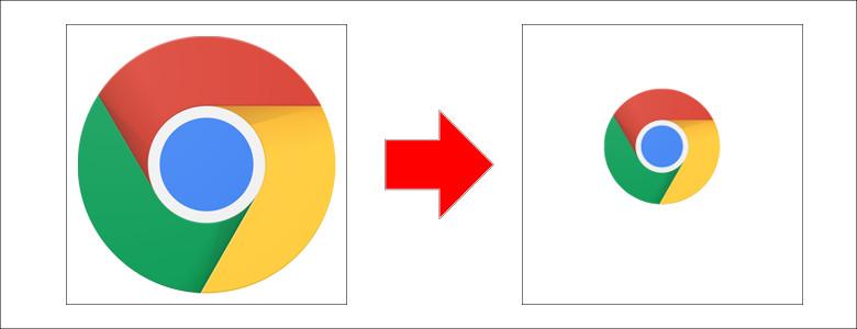 Chromeアイコンを小さく加工
