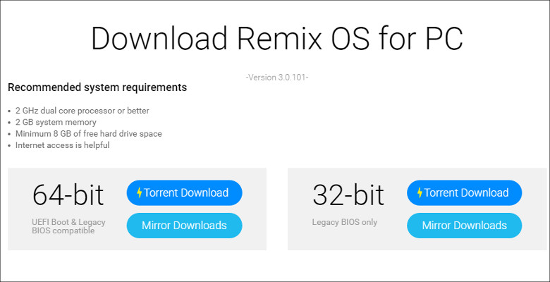 Remix OS システム要件など