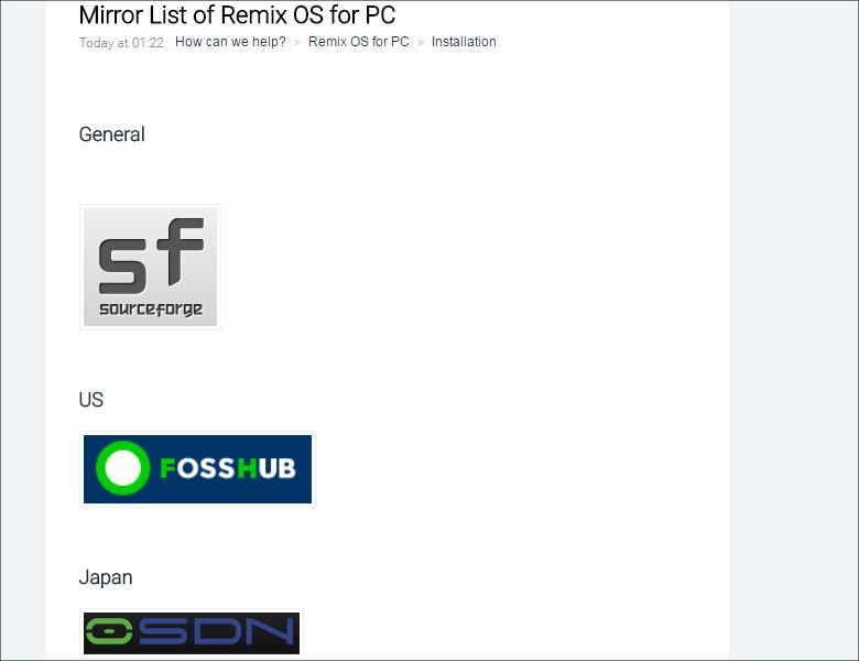 Remix OS ミラーサイト