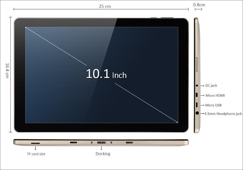 Onda oBook 10 Remix OS 各部名称