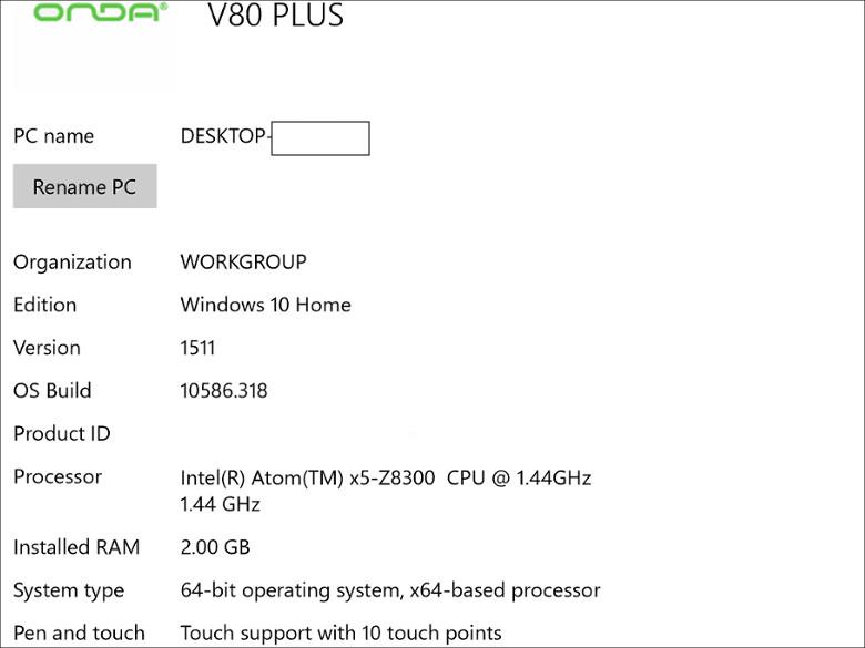 Onda V80 Plus システム構成