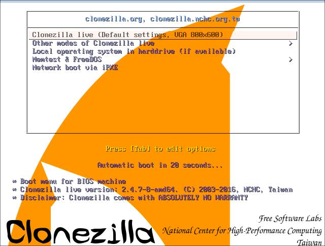 CloneZilla 起動