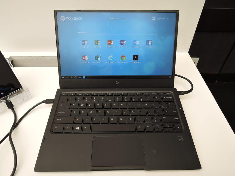 HP Elite x3 ノートドックでHP Workspace