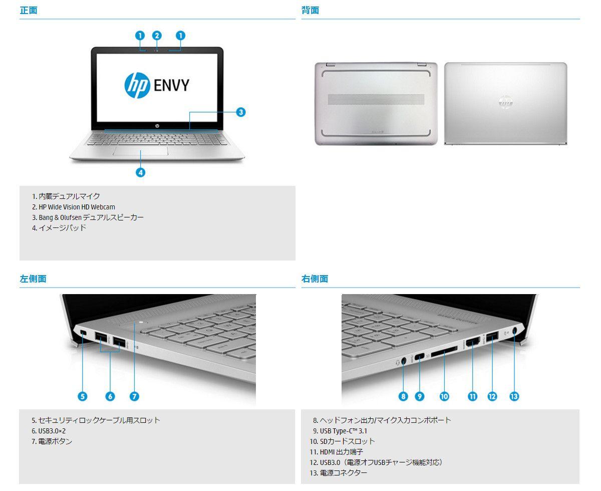 HP ENVY 15-as100 各部名称