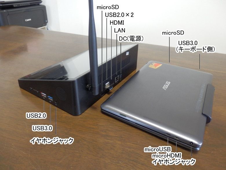PIPO X10 TransBookと厚さ比較、ポート解説