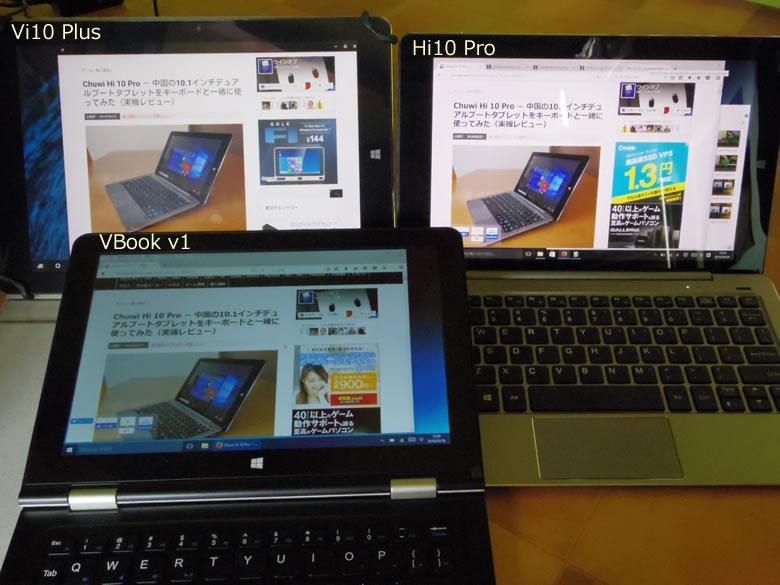 Chuwi Hi 10 Pro ディスプレイ比較