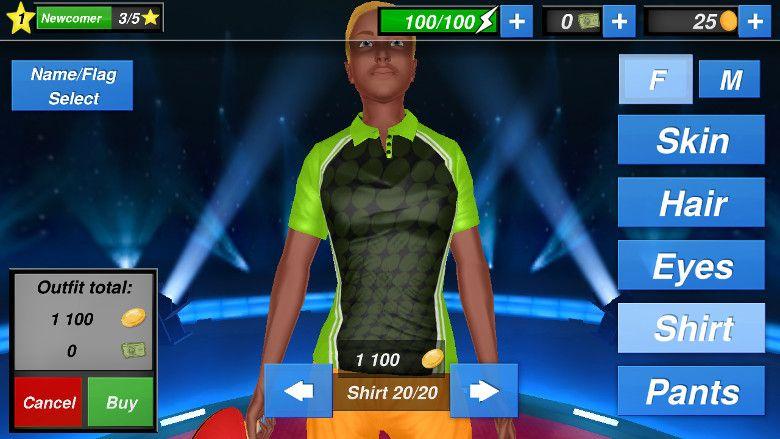 Table Tennis Champion 有料のユニフォーム